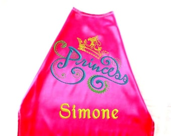 Super Hero Cape,  Superhero Girls Cape. Embroidered  Princess Design Personalized with Name Hot Pink