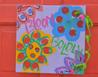 flowers Bloom Boldly painted canvas with beaded adornments