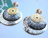 Circles Bold Metal Textured and Filigree Layers - Gunmetal Silver Gold Clip On Earrings Boho Bohemian