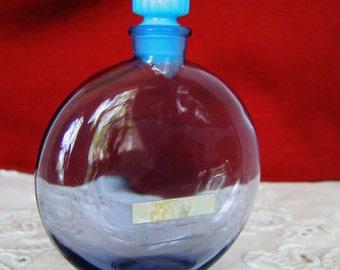 WORTH JE REVIENS Vintage Perfume Bottle Cobalt Blue w box  Rene Lalique signed Flacon-