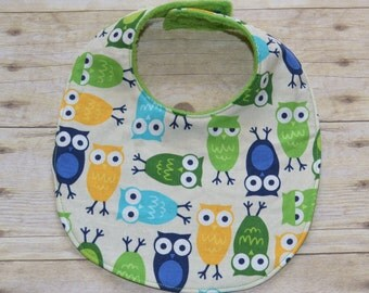 Sale Adorable Owls Baby Bib in Blues Green and Yellow