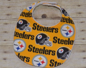 Pittsburgh Steelers Baby Bib with Yellow Background