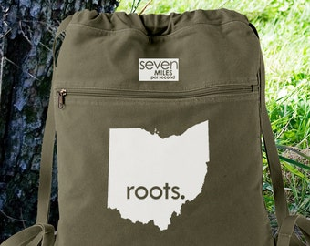 Ohio OH Roots Canvas Backpack Cinch Sack