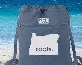 Oregon OR Roots Canvas Backpack Cinch Sack