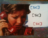 Mixed media collage. Distressed woman on the phone. Wonder what could be wrong...oh no. sicsicsic