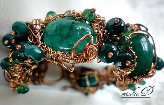 Emerald Cuff Bracelet, Genuine Emerald Bracelet, Emerald Wrapped Bracelet, Wire Wrapped Bracelet, Green Gemstone Bracelet
