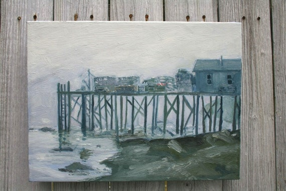 Painting Maine lobster pier in shades of grey gray , Original canvas art, fishing shack in fog .  Ocean Coastal Nautical Decor