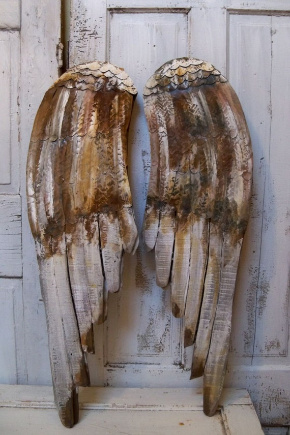 Wood Wings Wall Decor : Angel wings large wood carved wall sculpture pewter rusty