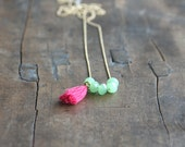 Jade necklace with pink tassel - jade colored crystal beads on a long gilded chain for women/ long necklace