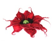 Felted flower brooch / Felt Jewelry/ Felted Flowers / gift under 20 / Ready to ship / dark red