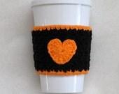 Crochet Heart Coffee Cup Cozy San Francisco Giants Orange and Black