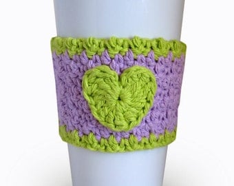 Crochet Heart Coffee Cup Cozy in Lavender and Hot Green