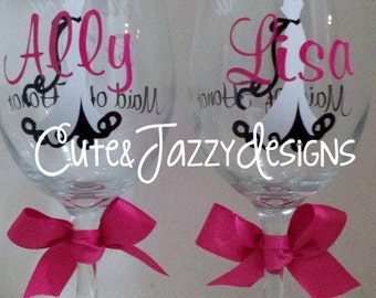 Personalized 20 oz. Wedding Wine Glass Set of 2