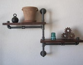 The Original - Single Pole Two Tier Walnut Pipe Shelf