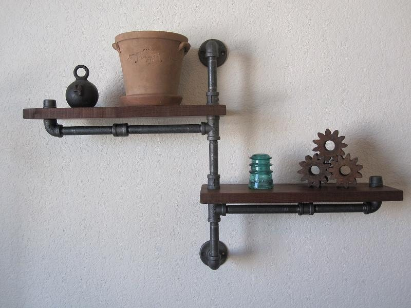 The Original Single Pole Two Tier Walnut Pipe Shelf