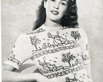 1940 Fair Isle Dresden shepherdess Little bo peep vintage knitting pattern PDFdownloaded format