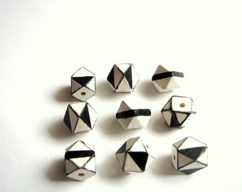 Hand Painted Geometric White& Black Wood Beads,Do it yourself Geometric Jewelry