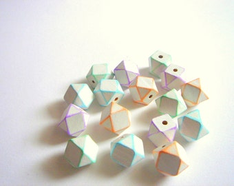 Painted Geometric Wood Beads, Summer Geometric Jewelry,Do it Yourself Geometric necklace