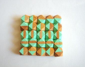 Mint Geometric Hand Painted Wood Beads,Do it Yourself Geometric necklace
