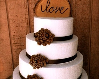Love Wooden Wedding Cake Topper Rustic Wedding Cake Topper Country Wedding Cake Topper Love Cake Topper