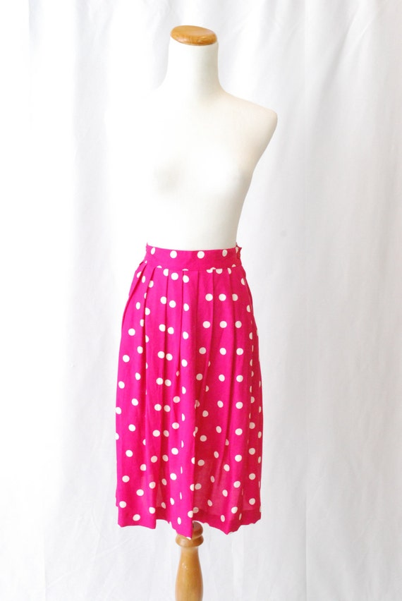 Vintage 80's Reconstructed Magenta Polk-a-Dot Pleated Skirt