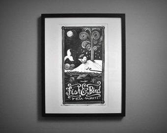 Fish & Bird Linocut Print