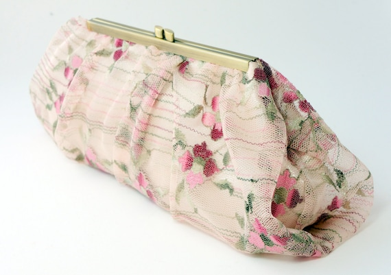 Champagne Pink Floral Lace Clutch Handbag - Vintage Inspired - Bridal/Wedding/Bridesmaid/Evening Purse - Includes Chain - Made to Order!