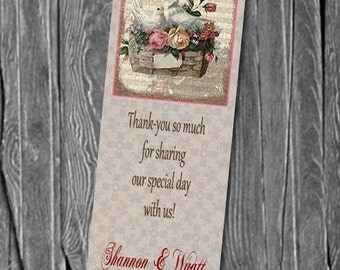 50,100, 150 Wedding Bookmarks Doves, Great Wedding Party Favors & Keepsake for your guests,  Any Color, Design BW25
