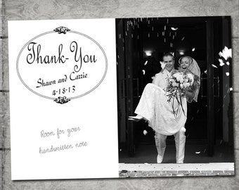 75 Photo Wedding Thank you cards on cardstock with envelopes. Printed for you