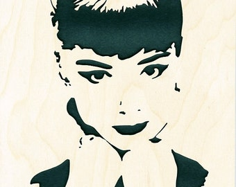 Audrey Hepburn Wood Portrait