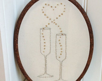 champagne love hand embroidery pattern