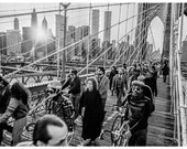 Brooklyn Bridge Crossing Vintage 1970s Photo with NY City Skyline, Twin Towers, People, Sun