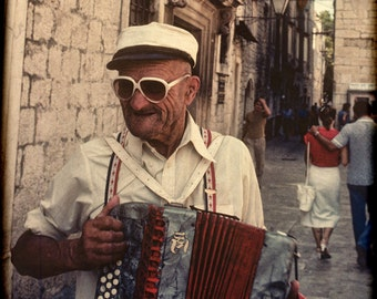 Accordian Player on the Cobbled Streets of Trogir, Croatia, 1982