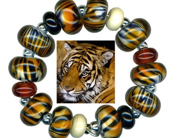 Lampwork Glass Beads Tiger Stripe Amber White and Black Bead Set