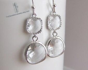 SALE 10% OFF: Glass Earrings Clear - Dangle Earrings Drop Earrings Gift Jewelry