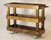 Wood Kitchen Cart with Casters and Industrial Pipe Towel Bars