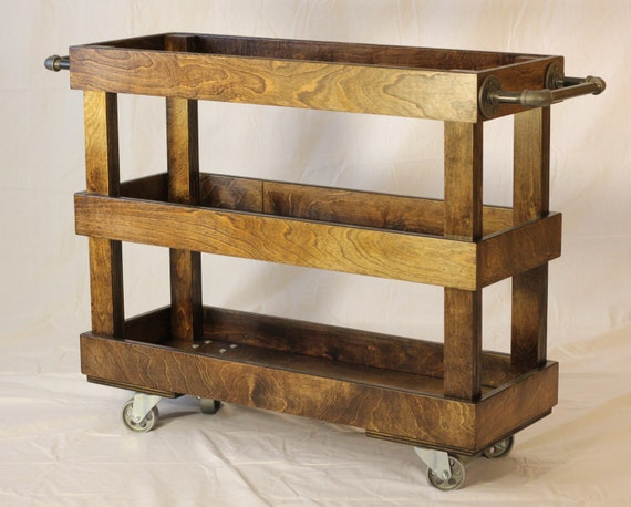 Wood Kitchen Cart With Casters And Industrial By Yoderswoodedlot