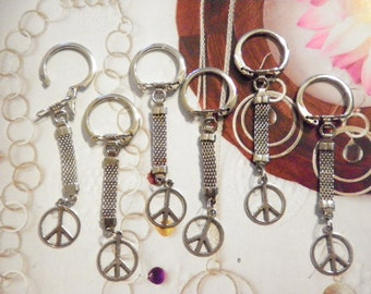 6 Vintage Silverplated Key Chains with Peace Sign