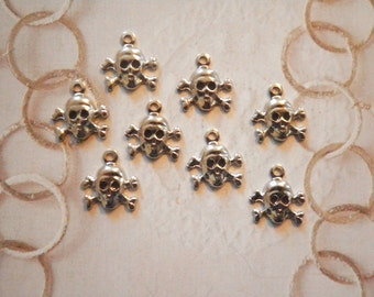8 Vintage Silverplated 10mm Skull and Crossbone Charms