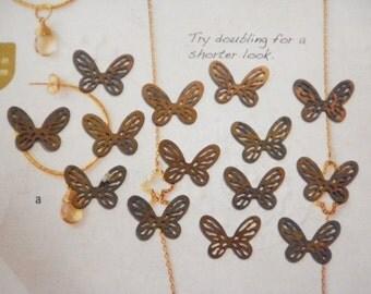 14 Vintage Brass 15mm Butterfly Findings