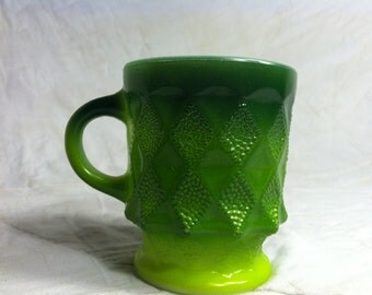 Wonderful Two Toned Green Fire King Milk Glass Cup / Mug from the Kimberly Collection Anchor Hocking