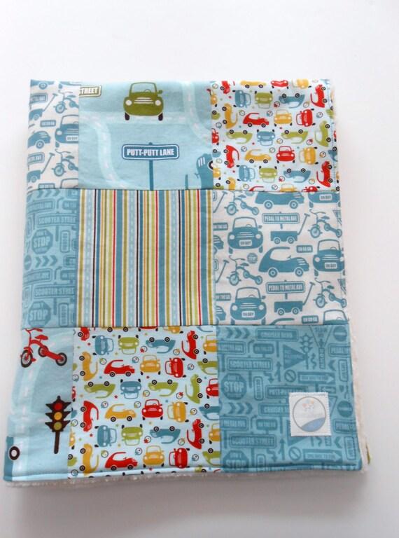 Minky Baby Boy Patchwork Quilt Blanket Riley Blake Cruiser