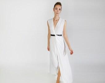 White Bridal dress, Maxi white Dress, sleeveless evening dress, long dress, deep cleavage, casual Boho dress, beach wedding, loose skirt