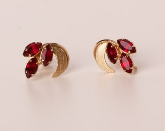 Vintage ART Gold Filled and Red Gemstone Screw Back Earrings