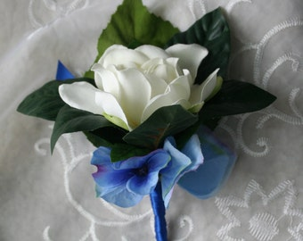 Gardenia Boutonniere - Your choice of Ribbon Color & Accent Flower Color - Made to Order Wedding Flowers - Summer Wedding - Lapel Pin, Groom