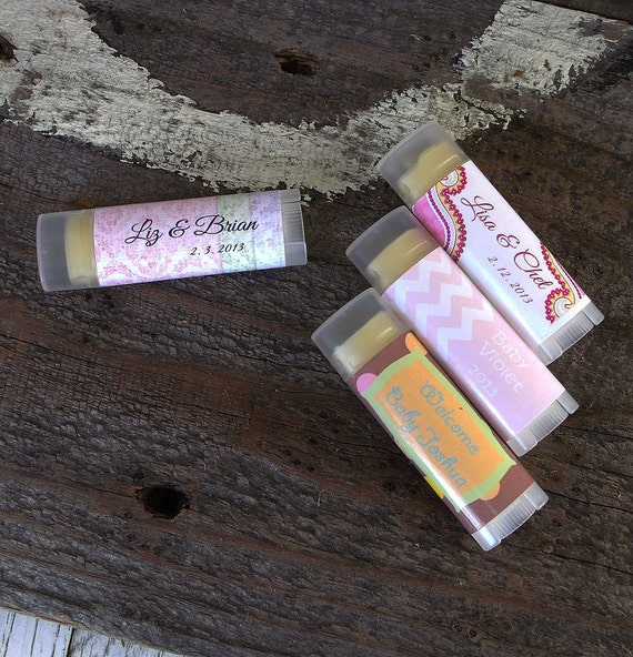 25  Custom Baby Shower Lip Balm, Personalized, Bridesmaids Gift, Bridal Shower Favor, Baby Shower
