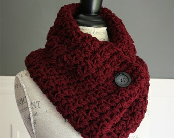 Crocheted Cowl Neck Scarf in Burgundy with black button