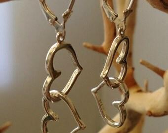 Linked Hearts Earrings in Sterling Silver