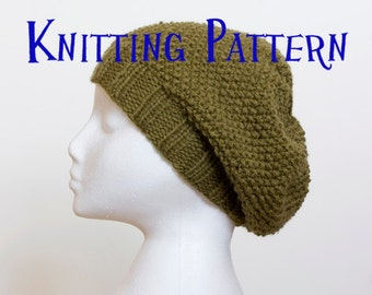 Instant Download PDF Knitting Pattern - Moss Stitch Slouchy Beanie, Hat Knitting Pattern, Slouch Hat Instructions, DIY Knit Hat