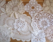 lot 1: Vintage Set of 10 DOILIES, hand crocheted, white, ivory and cream coloured cotton doilies in different sizes.